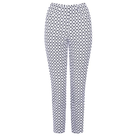 Robell Trousers Bella 09 Geometric Print Cropped Trouser - Blue
