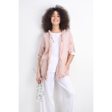 Arka Jana Easyfit Hooded Linen Jacket - Pink
