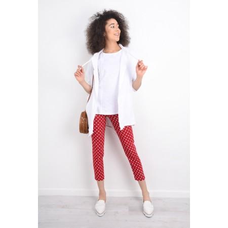Robell  Bella 09 Polka Dot Print Trouser - Red