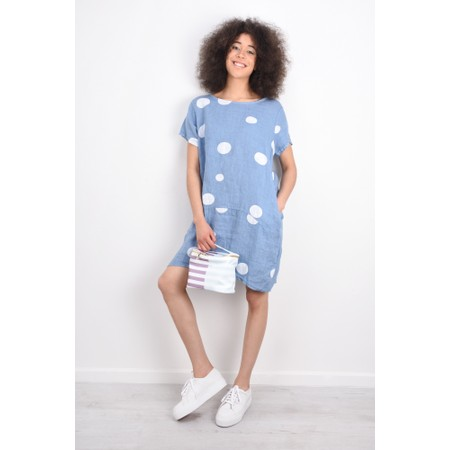 Arka Dottie Linen Dress - Blue