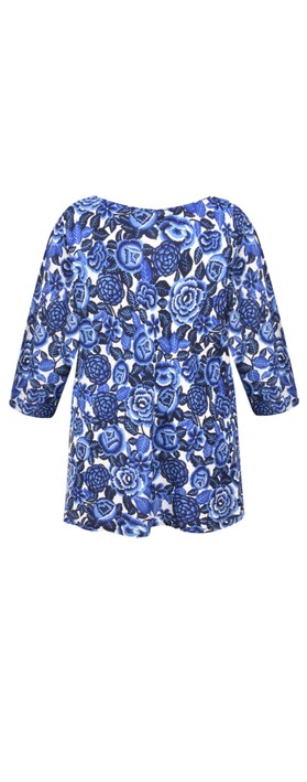 Masai Clothing Floral Print Kiwi Top Greek Blue Org