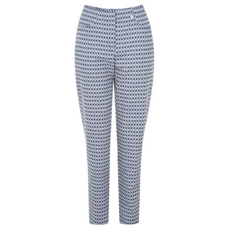 Robell Trousers Bella 09 Fleur de Lys Jacquard Cropped Trouser - Blue