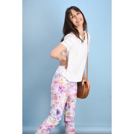 Robell Trousers Rose 09 Floral Cropped Trouser - White