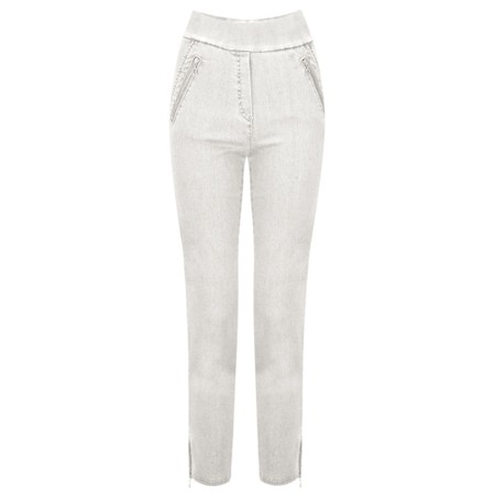 Robell Nena 09 Light Grey Ankle Zip Cropped Powerstretch Jean - Grey