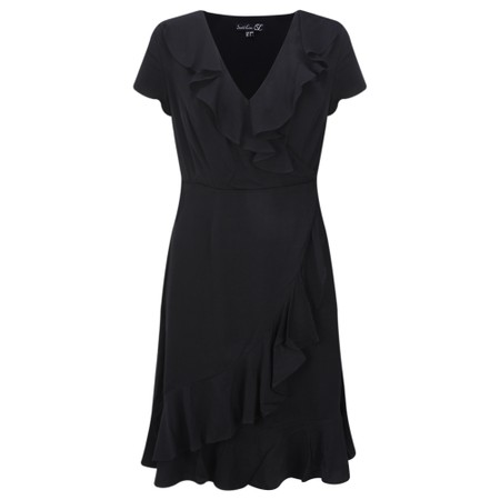 Smashed Lemon Frill Wrap Dress - Black