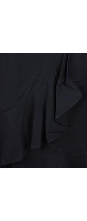 Smashed Lemon Frill Wrap Dress Black