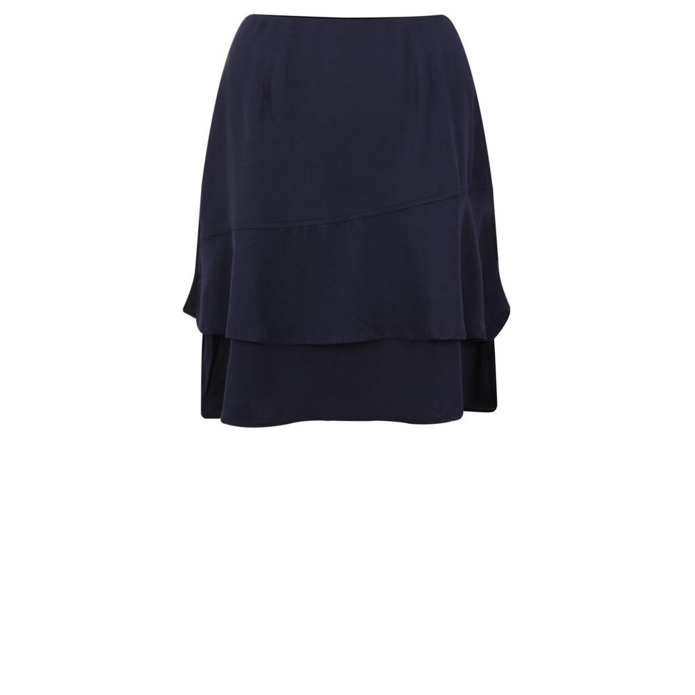 Smashed Lemon Frill Wrap Skirt Navy