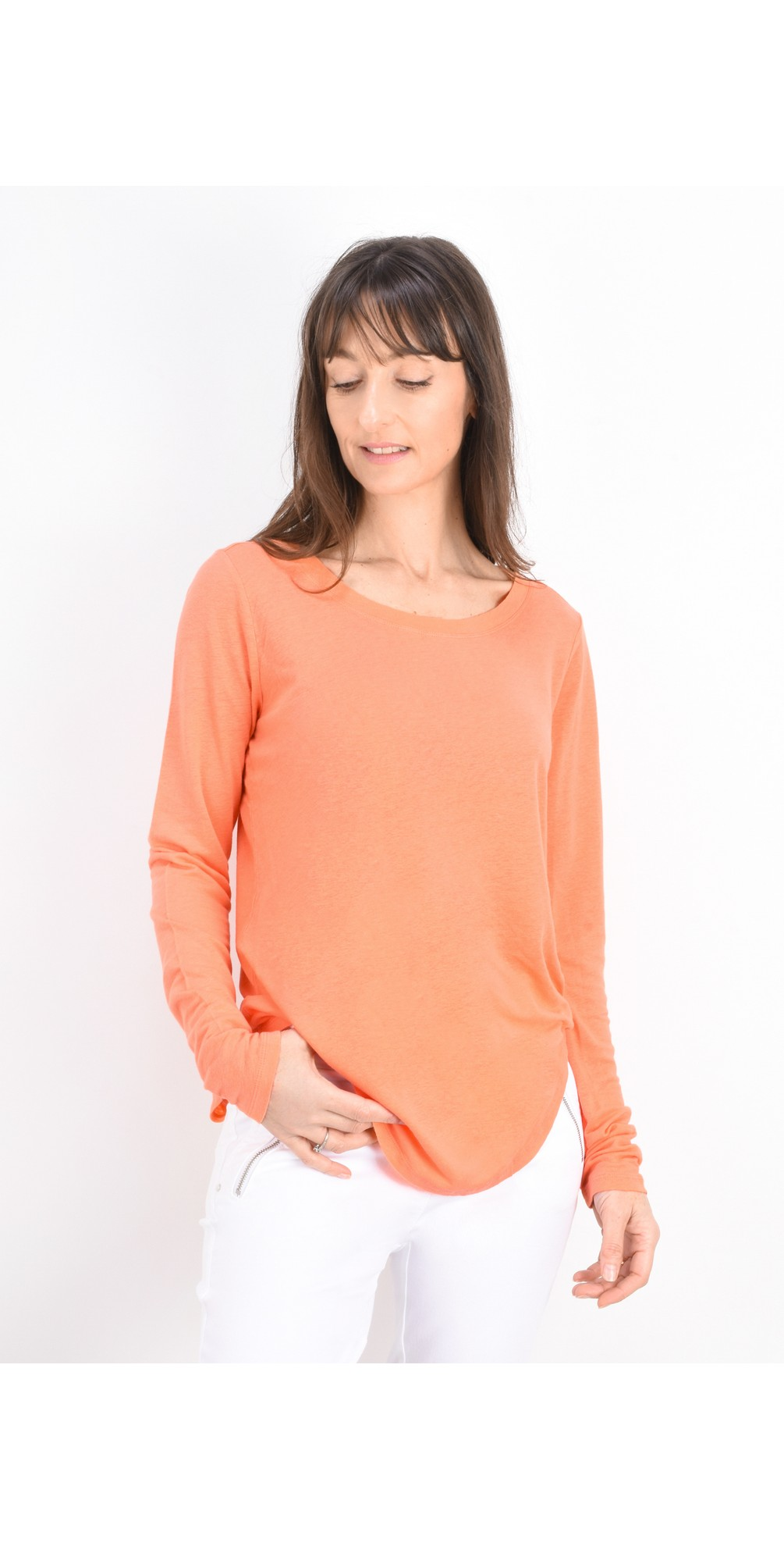 Linen Mix Long Sleeve Top main image
