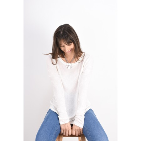 Sandwich Clothing Linen Mix Long Sleeve Top - White