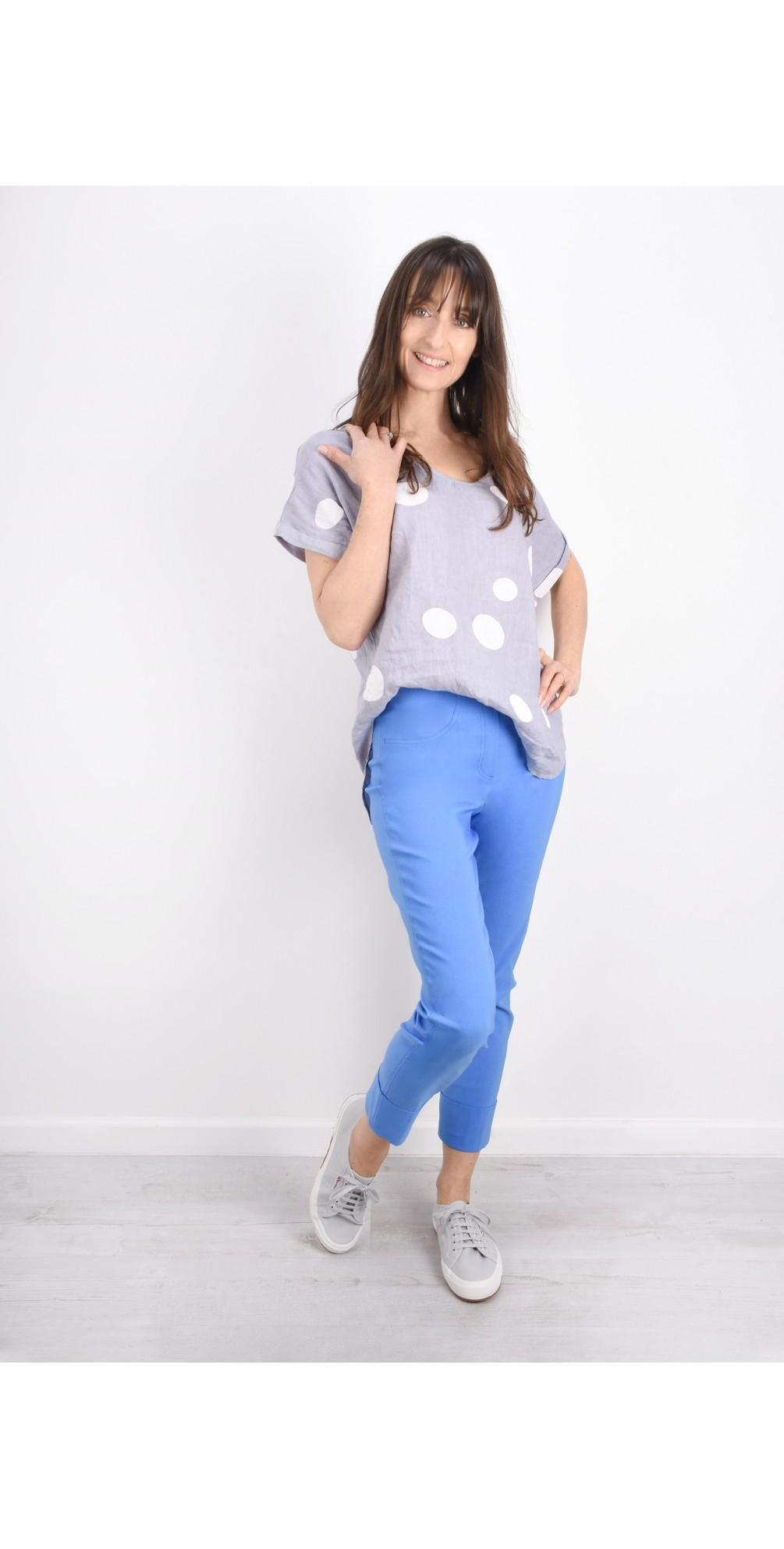 Bella 09 Azure Blue Ankle Length Crop Cuff Trouser main image