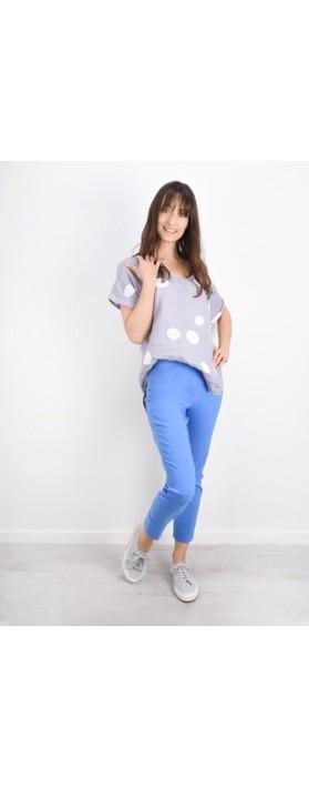 Robell Bella 09 Azure Blue Ankle Length Crop Cuff Trouser Azure Blue 600