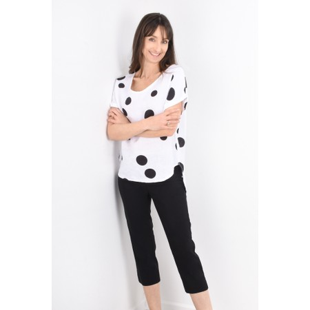 Arka Dot Linen Top - Black