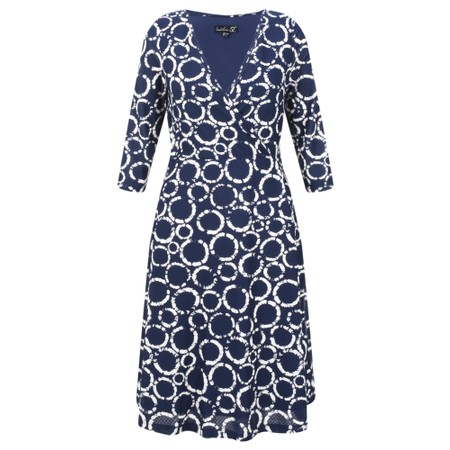 Smashed Lemon Spot Print 3/4 Sleeve Wrap Dress - Blue