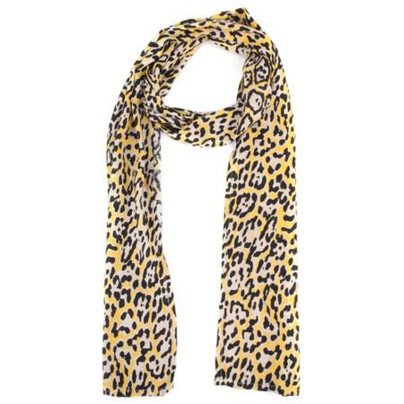Masai Clothing Along Leopard Print Scarf - Yellow