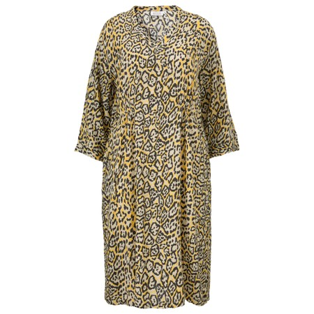 Masai Clothing Nancy Leopard Print Dress - Yellow