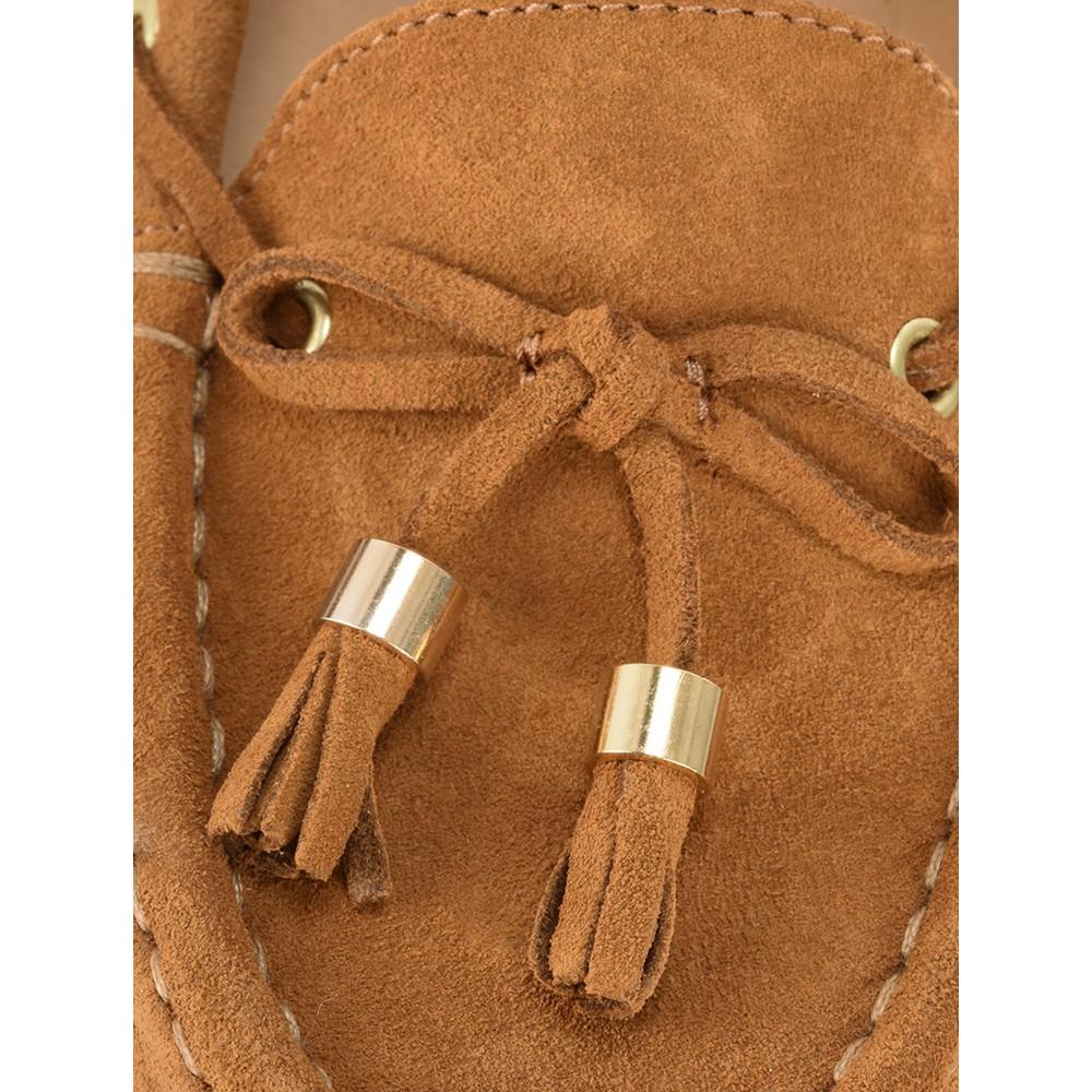 Gemini Label Shoes Caro Camel Suede Tassel Loafer Camel