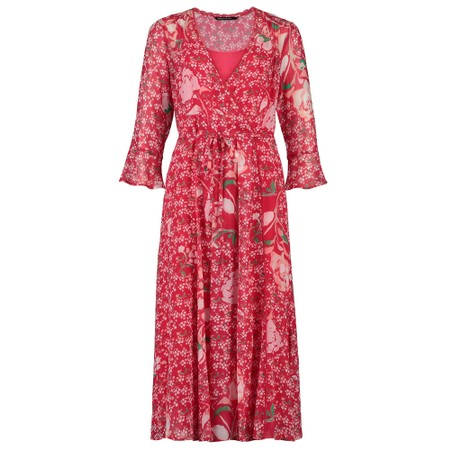 Expresso Elmo Floral Wrap Dress - Red