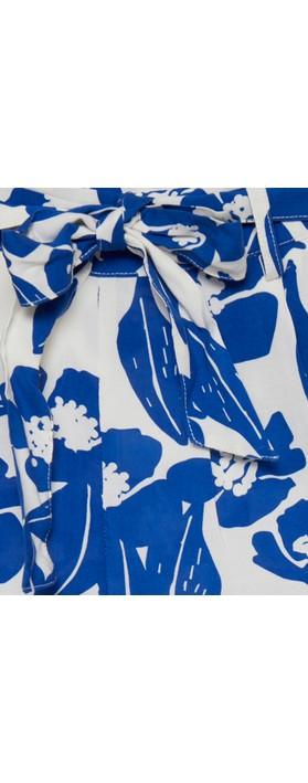 ICHI Nella Floral Print Shorts Cloud Dancer