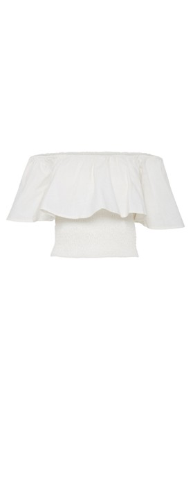 ICHI Gry Frill Top Cloud Dancer