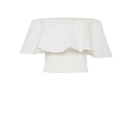 ICHI Gry Frill Top - White