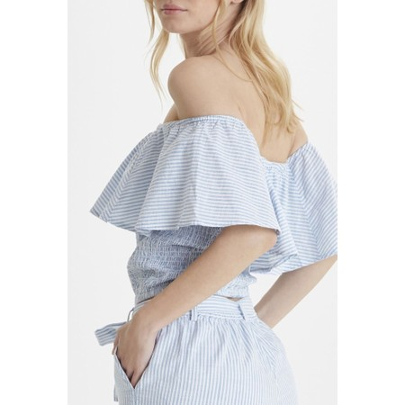 ICHI Gry Frill Top - Blue