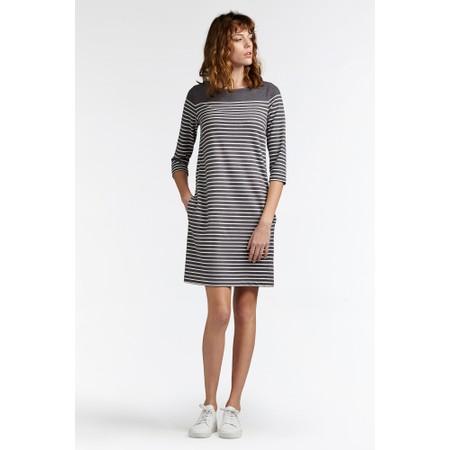 Sandwich Clothing Stripe Print French Terry Dress - Grey