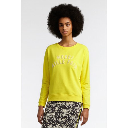 Sandwich Clothing Merci Mille Fois Slogan French Terry Jumper - Yellow