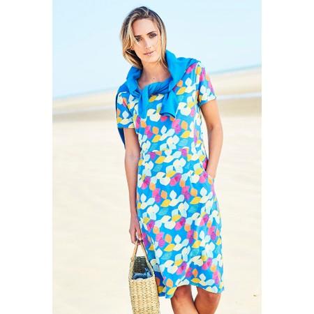 Adini Scandi Leaves Print Scandi Leaves Dress - Blue