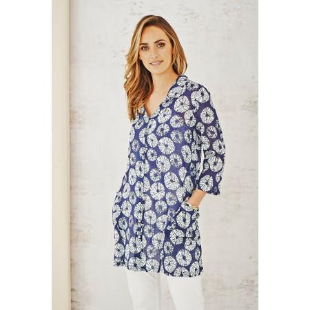 Adini Samoa Print Ocean Tunic - Blue