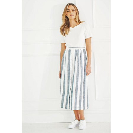 Adini Quay Stripe Wharf Skirt - Blue