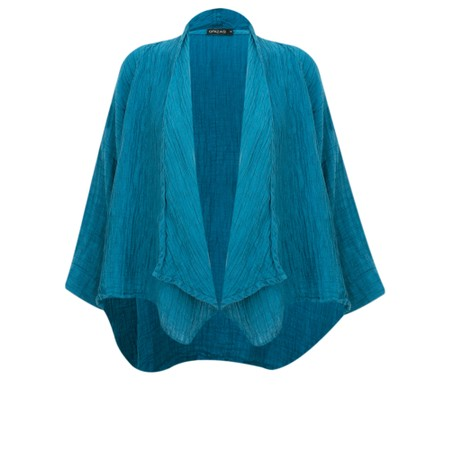 Grizas Nadia Crinkle Linen Blend Waterfall Jacket - Turquoise