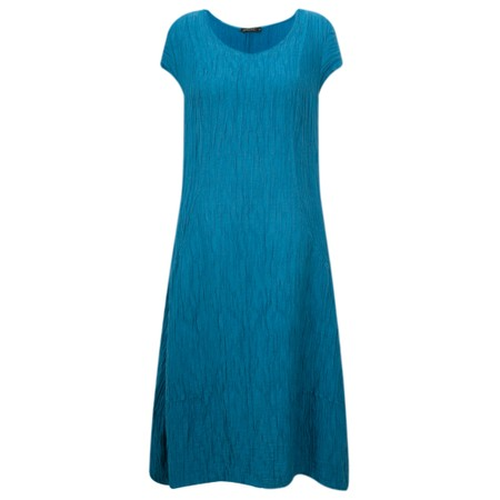Grizas Luiza Crinkle Linen Blend Dress - Turquoise