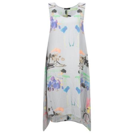 Grizas Sonia Printed Silk & Bamboo Tunic Dress - Grey