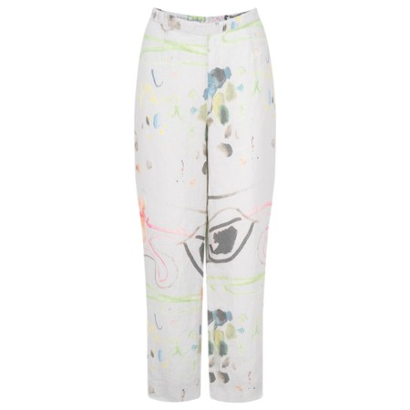 Grizas Klara Printed Linen Easyfit Trouser - Grey