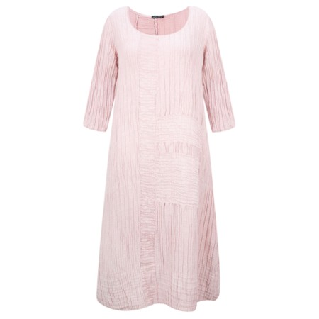 Grizas Vida Solid Crinkle Panelled Long Sleeve Dress - Pink