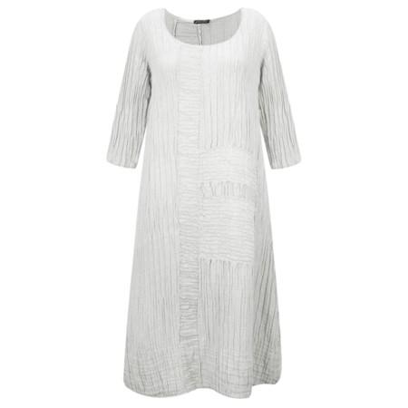 Grizas Vida Solid Crinkle Panelled Long Sleeve Dress - Beige