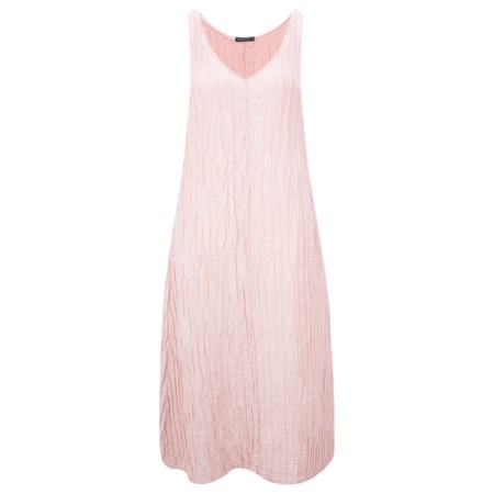 Grizas Marina Solid Crinkle Sleeveless Fit & Flare Dress - Pink