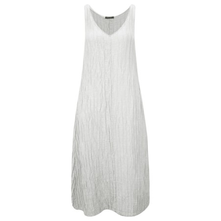 Grizas Marina Solid Crinkle Sleeveless Fit & Flare Dress - Beige