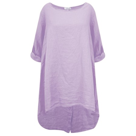Fenella  Orla EasyFit Linen Button Back Top - Purple