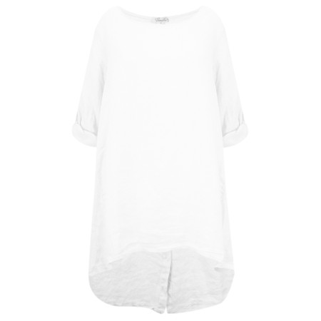 Fenella  Orla EasyFit Linen Button Back Top - White