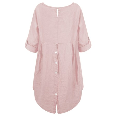 Fenella  Orla EasyFit Linen Button Back Top - Pink