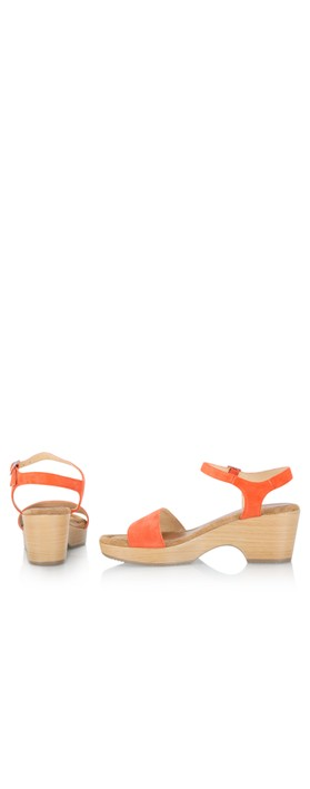 Gemini Label  Aneka Icon Suede Wedge Sandal Zucca Orange