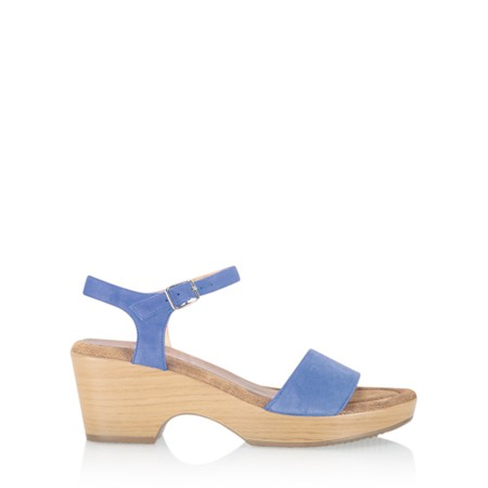 Gemini Label  Aneka Icon Suede Wedge Sandal - Blue