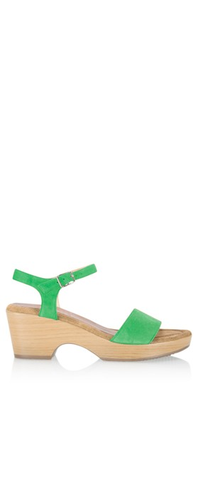 Gemini Label  Aneka Icon Suede Wedge Sandal Billar Green
