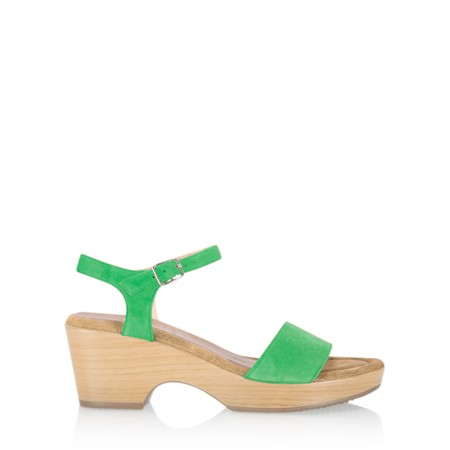 Gemini Label  Aneka Icon Suede Wedge Sandal - Green