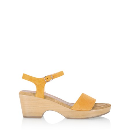 Gemini Label  Aneka Icon Suede Wedge Sandal - Yellow