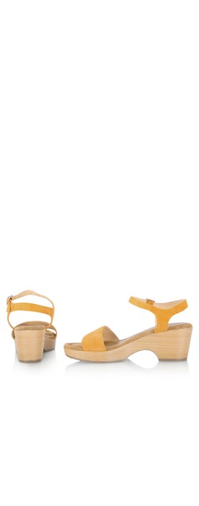 Gemini Label  Aneka Icon Suede Wedge Sandal Camomile Yellow