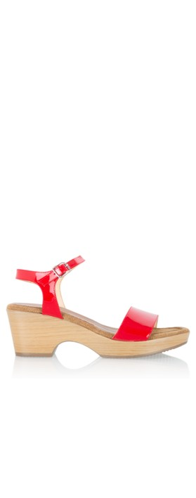 Gemini Label  Aneka Icon Patent Wedge Sandal  Lips Red
