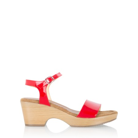 Gemini Label  Aneka Icon Patent Wedge Sandal  - Red