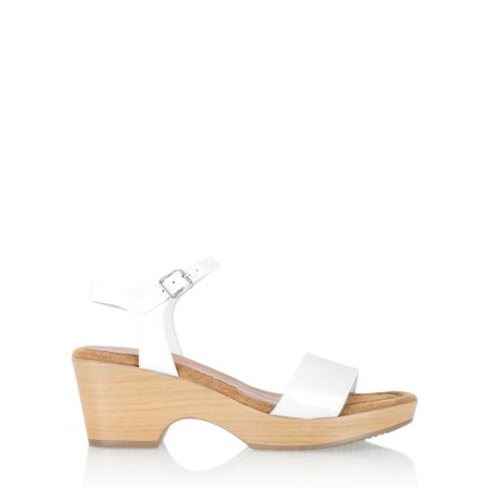 Gemini Label  Aneka Icon Patent Wedge Sandal  - White